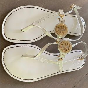 Tory Burch white Miller sandals patent leather